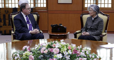 South Korean Foreign Minister Kang Kyung-wha, right, and Timothy Betts, acting deputy assistant secretary and senior advisor for Security Negotiations and Agreements in the U.S. Department of State, talk during their meeting at Foreign Ministry in Seoul,