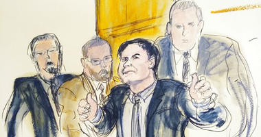 """In this courtroom drawing, Joaquin """"El Chapo"""" Guzman, second from right, accompanied by US Marshalls, gestures a """"thumbs up"""" to his wife, Emma Coronel Aispuro, as he leaves the courtroom, Tuesday, Feb. 12, 2019, in New York."""