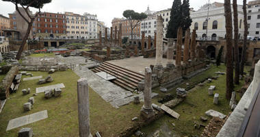 A view of the archeological site of Largo Argentina, in Rome, Monday, Feb. 18, 2019. A complex of ancient temples linked to Julius Caesar's murder will be opened to the public.