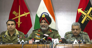 Indian Army's General Officer Commanding of the Srinagar-based 15 Corps Lt. Gen. K.J.S. Dhillon, center, speaks as Inspector General of Police Swayam Prakash Pani, left, and Inspector General of Central Reserve Police Force (CRPF) operation Zulfiqar Hassa