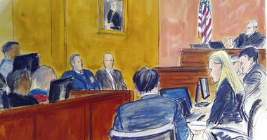 "FILE - In this Monday Feb. 4, 2019 courtroom sketch, Judge Brian Cogan upper right, gives instructions to jurors in the trial of Joaquin ""El Chapo"" Guzman in New York."