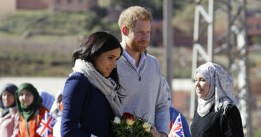 Britain's Prince Harry and Meghan, Duchess of Sussex arrive for a visit to an 'Education for All' boarding house in Asni Town in Morocco, Sunday, Feb. 24, 2019.