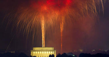 FILE - In a Tuesday, July 4, 2017 file photo, fireworks explode over Lincoln Memorial at the National Mall in Washington, during the Fourth of July celebration.