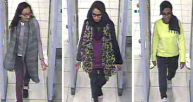 FILE - This is a Monday Feb. 23, 2015 file handout image of a three image combo of stills taken from CCTV issued by the Metropolitan Police Kadiza Sultana, left, Shamima Begum, centre and and Amira Abase going through security at Gatwick airport, before t