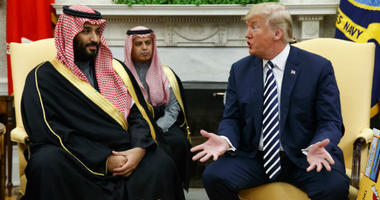 FILE - In this March 20, 2018, file photo, President Donald Trump meets with Saudi Crown Prince Mohammed bin Salman in the Oval Office of the White House in Washington.