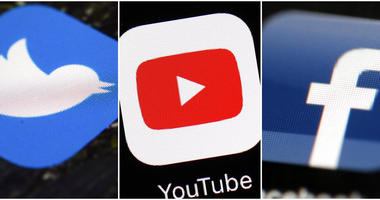This combination of images shows logos for companies from left, Twitter, YouTube and Facebook.