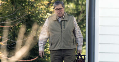 Attorney General William Barr leaves his home in McLean, Va.