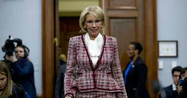 Education Secretary Betsy DeVos arrives for a House Appropriations subcommittee hearing on budget on Capitol Hill.
