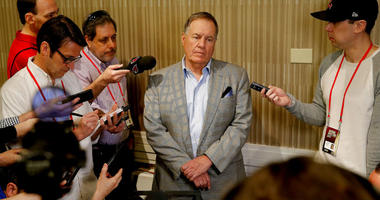 New England Patriots head coach Bill Belichick speaks to the media during the NFC/AFC coaches breakfast during the annual NFL football owners meetings.