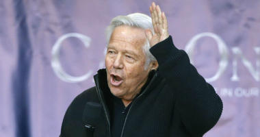 New England Patriots owner Robert Kraft addressing the crowd during an NFL football Super Bowl send-off rally for the team, in Foxborough, Mass.