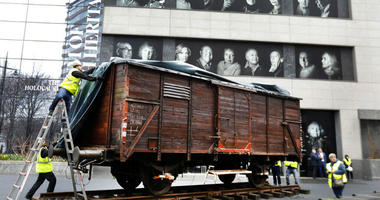"""The train car joins hundreds of artifacts from Auschwitz at the museum for an exhibit entitled """"Auschwitz. Not long ago. Not far away,"""" that opens to the public on May 8."""