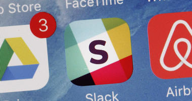 In this Tuesday, Jan. 31, 2017, file photo, the Slack app is displayed on a mobile phone in New York.