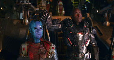 "This image released by Disney shows Karen Gillan, left, and Don Cheadle in a scene from ""Avengers: Endgame."""