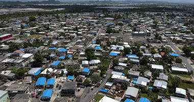 This June 18, 2018, file photo shows an aerial view of the Amelia neighborhood in the municipality of Catano, east of San Juan, Puerto Rico.