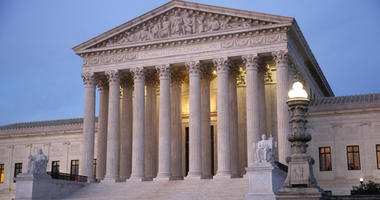 In this May 23, 2019 photo, the U.S. Supreme Court building at dusk on Capitol Hill in Washington.