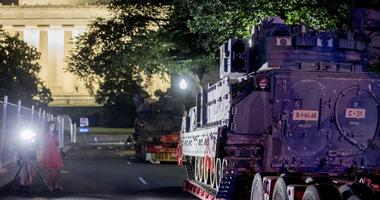 "Two Bradley Fighting Vehicles are parked next to the Lincoln Memorial before President Donald Trump's ""Salute to America,"" event honoring service branches on Independence Day, Tuesday, July 2, 2019, in Washington."