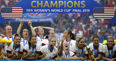 United States' player celebrate after the Women's World Cup final soccer match between US and The Netherlands at the Stade de Lyon in Decines, outside Lyon, France, Sunday, July 7, 2019.
