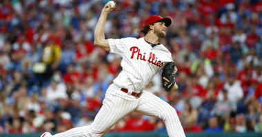 Philadelphia Phillies' Aaron Nola pitches during the fourth inning of a baseball game against the Washington Nationals, Saturday, July 13, 2019, in Philadelphia.
