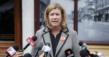 Dayton, Ohio, Mayor Nan Whaley speaks to members of the media Tuesday, Aug. 6, 2019, outside Ned Peppers bar in the Oregon District after a mass shooting that occurred early Sunday morning in Dayton.