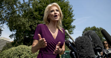Counselor to the President Kellyanne Conway speaks to members of the media outside of the West Wing on the North Lawn of the White House in Washington, Wednesday, Aug. 7, 2019.