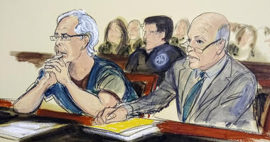 In this July 15, 2019 courtroom artist's sketch, defendant Jeffrey Epstein, left, and his attorney Martin Weinberg listen during a bail hearing in federal court, in New York.