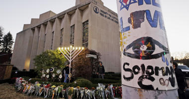 This Dec. 2, 2018, file photo shows a memorial outside the Tree of Life Synagogue, where Robert Bowers killed worshippers in an Oct. 27 shooting in the Squirrel Hill neighborhood of Pittsburgh.