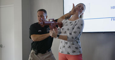 Gun safety defense demonstration