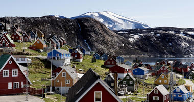 This July 11, 2015 file photo shows a general view of the town of Upernavik in western Greenland.