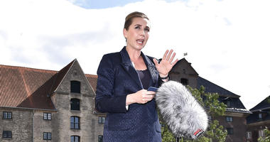 Denmark's Prime Minister Mette Frederiksen makes a comment on US President's cancellation of his scheduled State Visit, in front of the State Department in Copenhagen, Wednesday, Aug. 21, 2019.