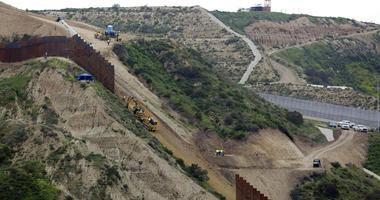 Border wall separating San Diego and Tijuana, Mexico.