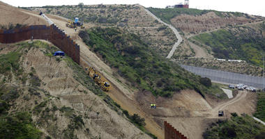 Border wall separating San Diego and Tijuana, Mexico.