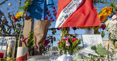 Items are placed at a memorial for the victims of Monday's dive boat fire at the Santa Barbara Harbor on Wednesday, Sept. 4, 2019, in Santa Barbara, Calif.