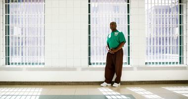 Incarcerated filmmaker Ezra poses for a portrait at the State Correctional Institution in Chester, Pa.