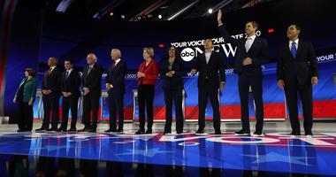 From left: Amy Klobuchar, Cory Booker, Pete Buttigieg, Bernie Sanders, Joe Biden, Elizabeth Warren, Kamala Harris, Andrew Yang, Beto O'Rourke and Julian Castro