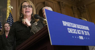 Former Rep. Gabby Giffords, speaks during a news conference to announce the introduction of bipartisan legislation to expand background checks for sales and transfers of firearms, on Capitol Hill in Washington.