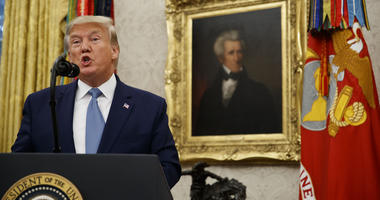 President Donald Trump speaks during a ceremony to present the Presidential Medal of Freedom to former Attorney General Edwin Meese, in the Oval Office of the White House, Tuesday, Oct. 8, 2019, in Washington.