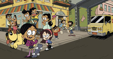 "Promotional still from the Nickelodeon animated series ""The Casagrandes,"" featuring a multigenerational Mexican American family."