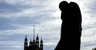 The statue of former Prime Minister Sir Winston Churchill stands in Parliament Square, in London, Monday, Oct. 28, 2019.