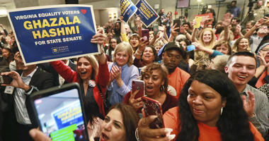 Democratic supporters cheer at their party in Richmond, Va., Tuesday, Nov. 5, 2019. All seats in the Virginia House of Delegates and State Senate are up for election.