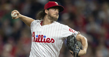 Philadelphia Phillies starting pitcher Aaron Nola (27) throws in the first inning of a baseball game against the Atlanta Braves, Saturday, Sept. 29, 2018, in Philadelphia.