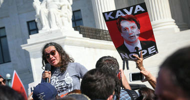 Ana Maria Archila, one of the two women who confronted Arizona Sen. Jeff Flake, speaks at the protest against Brett Kavanaugh in front of the United States Supreme Court, Thursday, Oct. 4, 2018.