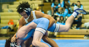 Buena high school wrestler Andrew Johnson wrestles Lower Cape May's Bobby O'Brien at 126 lb. at Buena Regional High School on Wednesday, January 17.