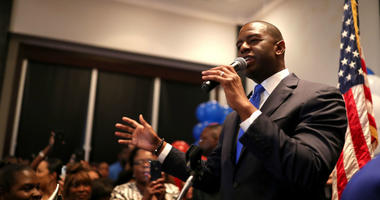 Democratic gubernatorial nominee Andrew Gillum celebrates his victory with supporters during his election watch party at Hotel Duval.