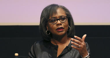 In this Dec. 8, 2017, file photo, Anita Hill speaks at a discussion about sexual harassment in Beverly Hills, Calif.