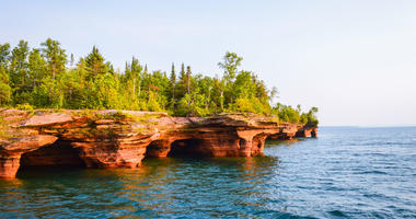 Natural cave formations in the Apostle Islands of Lake Superior
