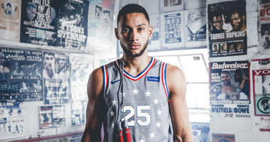 Philadelphia 76ers player Ben Simmons models the team's new City Edition uniforms.
