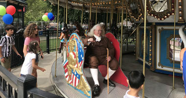 A Benjamin Franklin impersonator was on hand at Franklin Squares 12th birthday celebration.