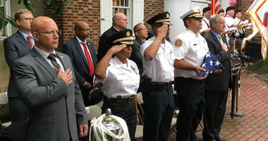 City ceremony remembering 9/11 underway at the Betsy Ross House.
