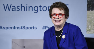 Tennis legend Billie Jean King participates in a discussion at the Aspen Institute's 2016 Project Play Summit at the Newseum in Washington.