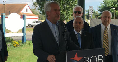Bob Hugin, a Republican running for the U.S. Senate in New Jersey, speaks at a campaign event in Woodbine.
